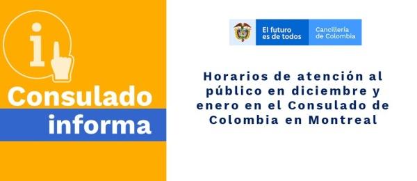 Horarios de atención al público en diciembre y enero en el Consulado de Colombia