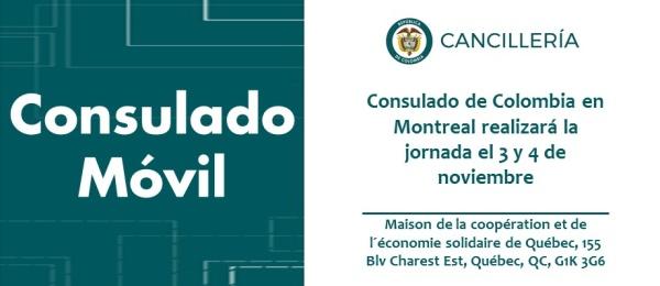 Consulado de Colombia en Montreal realizará la jornada de Consulado Móvil el 3 y 4 noviembre