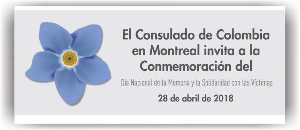 El Consulado en Montreal invita a la conmemoración del Día Nacional de la Memoria y la Solidaridad con las Víctimas del Conflicto Armado en Colombia