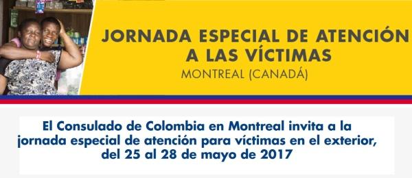 El Consulado de Colombia en Montreal invita a la jornada especial de atención para víctimas en el exterior, del 25 al 28 de mayo de 2017